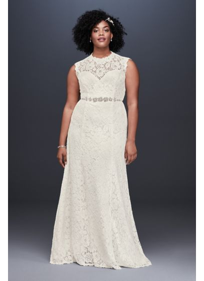 Allover Lace Plus Size Sheath Wedding Dress - This cap sleeve sheath wedding dress is simply