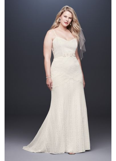 Allover Lace Tank Sheath Plus Size Wedding Dress - Thoughtfully placed appliques at the waist, hips, and