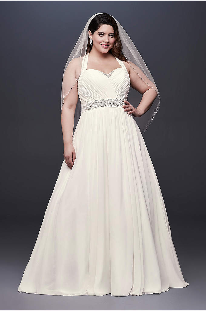 Chiffon Plus Size Wedding Dress with Illusion Back - This timeless A-line wedding dress features an illusion-mesh