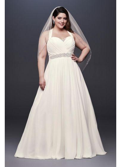Chiffon Plus Size Wedding Dress with Illusion Back