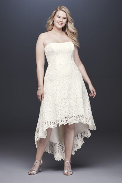 High Low Tea Length Lace Plus Size Wedding Dress Davids Bridal