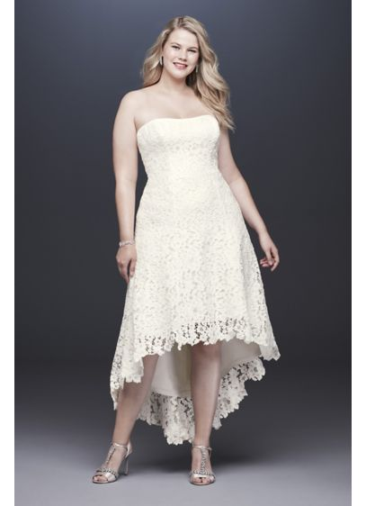 High-Low Tea-Length Lace Plus Size Wedding Dress - Choose your wedding shoes with extra-special care: crafted