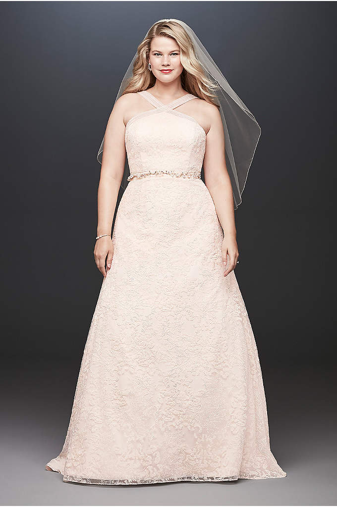 Embroidered Lace Y-Neck Plus Size Wedding Dress - Embroidered, nature-inspired motifs give this A-line wedding dress