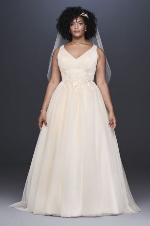 Appliqued Glitter Tulle Plus Size Wedding Dress - Beaded floral lace appliques encircle the waist of