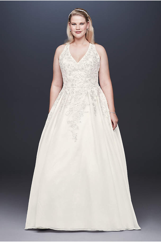 Illusion Back Organza Plus Size Wedding Dress - The beautifully beaded lace appliques that embellish the