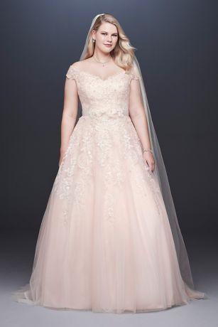 Iets Nieuws Off-the-Shoulder Applique Plus Size Wedding Dress | David's Bridal @MQ19