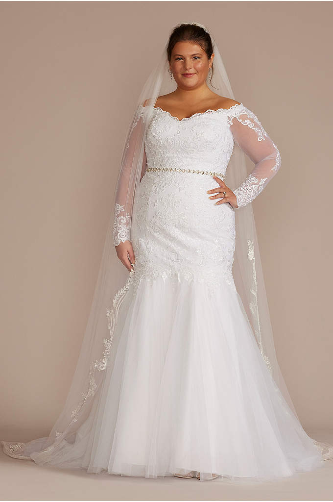 Long Sleeve Off-Shoulder Plus Size Wedding Dress - The beauty is in the details of this