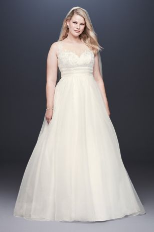 Appliqued Organza A-line Plus Size Wedding Dress - Fine filaments of gold embroidery embellish the floral