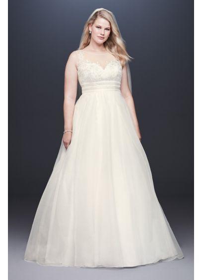Appliqued Organza A Line Plus Size Wedding Dress David S Bridal