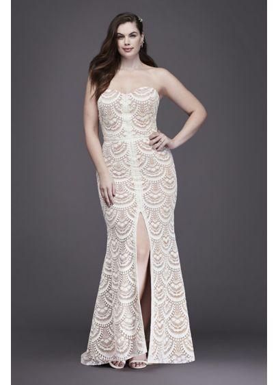 942081b41ea3 Scalloped Lace Split-Front Plus Size Wedding Dress