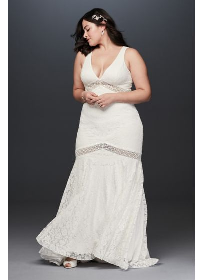 V-Neck Lace Illusion Plus Size Wedding Dress | David\'s Bridal