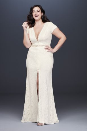 2dcd376530e Illusion V-Neck Cap Sleeve Plus Size Wedding Dress