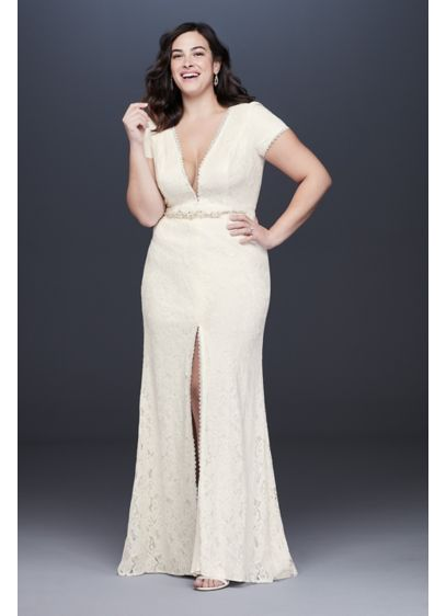 Illusion V-Neck Cap Sleeve Plus Size Wedding Dress - A plunging neckline, finished with an illusion mesh