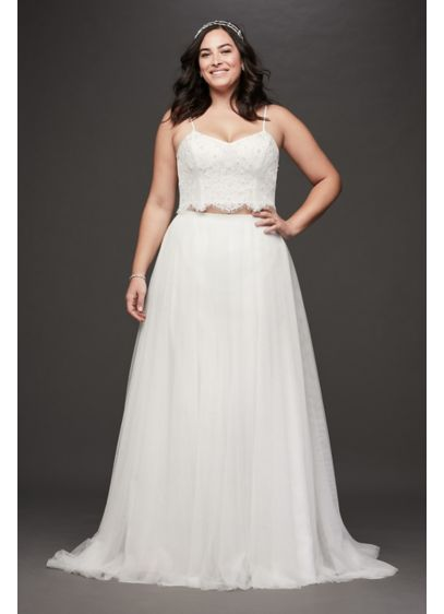 Lace and Tulle Two-Piece Plus Size Wedding Dress - A whimsical approach to a traditional wedding dress,