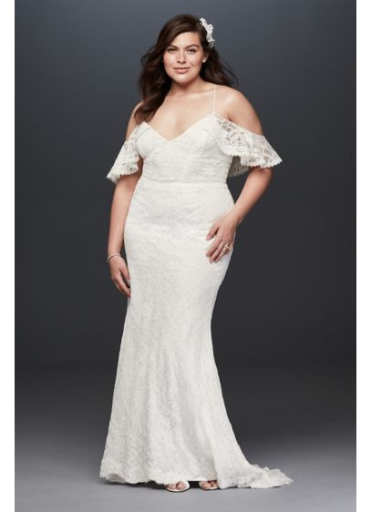 Ruffle Cold Shoulder Plus Size Wedding Dress | David\'s Bridal