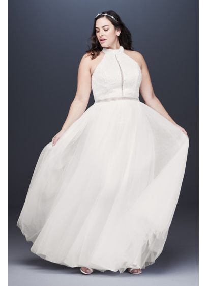 High Neck Illusion Tulle Plus Size Wedding Dress | David\'s Bridal