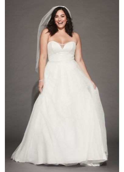 Gradient Glitter Tulle Plus Size Wedding Dress - Glitter cascades beneath a layer of tulle on