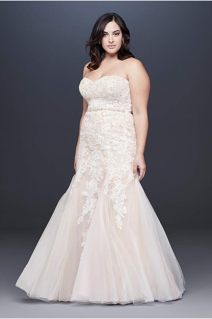 Beaded Floral Lace Mermaid Plus Size Wedding Dress
