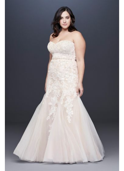 Beaded Floral Lace Mermaid Plus Size Wedding Dress - A figure-hugging mermaid plus-size wedding gown adorned with