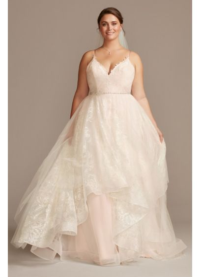 Floral and Tulle Layered Plus Size Wedding Dress - Bold blooms outlined in sparkling glitter are covered