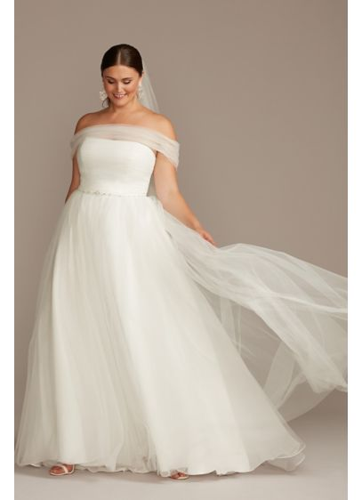 Off Shoulder Pleated Tulle Plus Size Wedding Dress - This enchanting wedding dress takes a classic silhouette