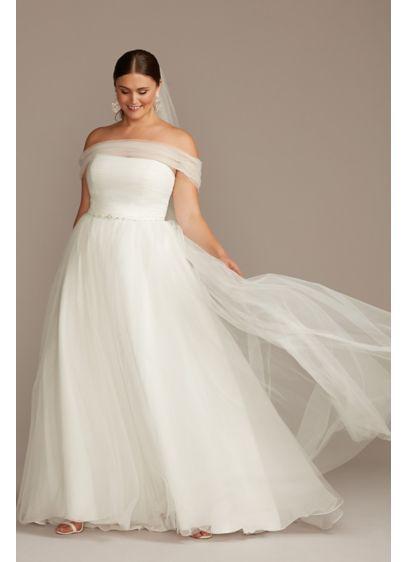 Off Shoulder Pleated Tulle Plus Size Wedding Dress David S Bridal