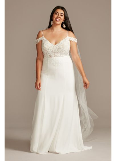 Floral Applique Bodice Plus Size Wedding Dress - Rich floral appliques embellish the sheer bodice of