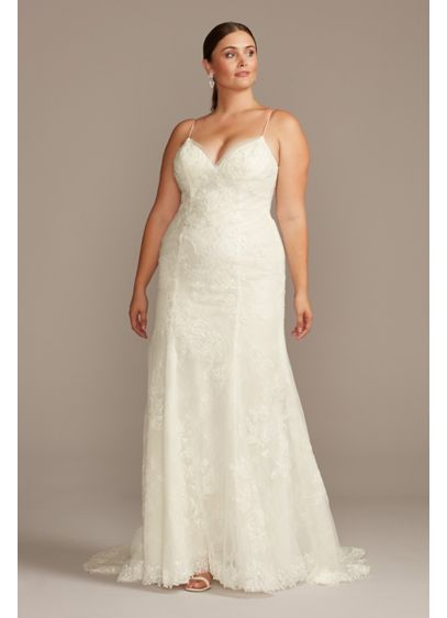 Floral Applique Spaghetti Plus Size Wedding Dress - This elegant trumpet wedding dress exudes a hazy