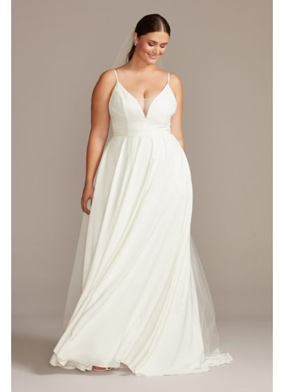 Illusion Deep-V Spaghetti Plus Size Wedding Dress - Made from luxe yet comfortable stretch crepe, this