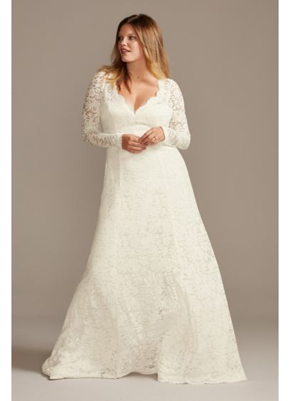 Scalloped Lace Open Back Plus Size Wedding Dress - This romantic, refined lace wedding dress features long