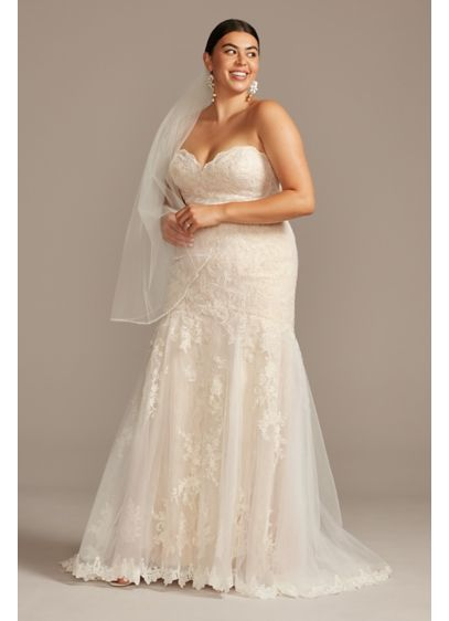 Layered Lace Plus Size Mermaid Wedding Dress - Romantically layered Chantilly lace creates the curve-hugging mermaid