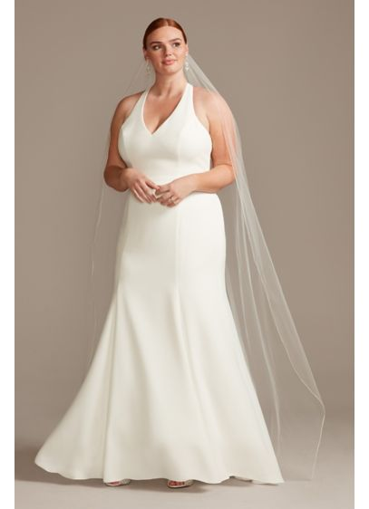 Sheer Back Plus Size Wedding Dress With Lace Train David S Bridal