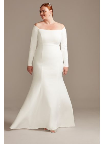 Off-Shoulder Button Back Plus Size Wedding Dress - Timelessly chic yet modern, this stretch-crepe unembellished wedding