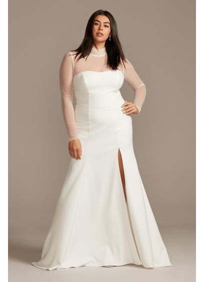Illusion Sleeve High Neck Plus Size Wedding Dress - Although unembellished, this stretch crepe wedding dress is