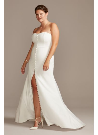 Button Front Strapless Plus Size Wedding Dress - Give modern edge to a classic look in