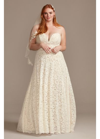 Sweetheart Plunge Lace Plus Size Wedding Dress - Featuring romantic floral lace and a pretty champagne