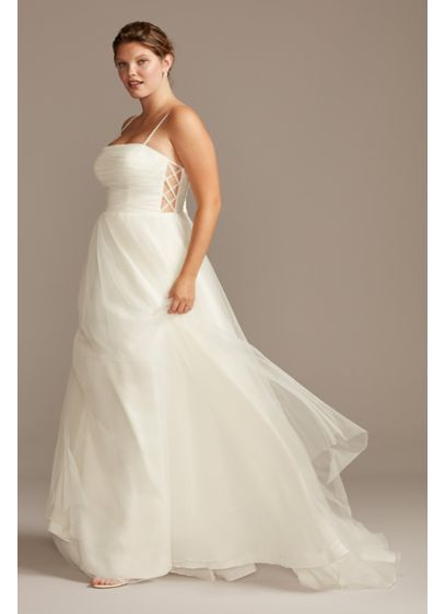 Spaghetti Pleated Tulle Plus Size Wedding Dress - Romantic yet modern, this tulle wedding dress is