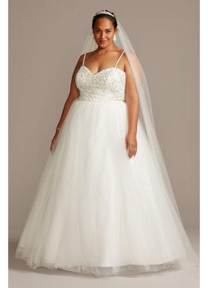 Crystal Floral Bodice Plus Size Wedding Dress - Pave crystals paired with clear and iridescent beads