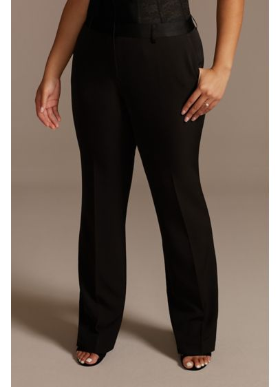 Relaxed Leg Plus Size Suit Pants with Satin - Featuring a satin waistband and a relaxed leg