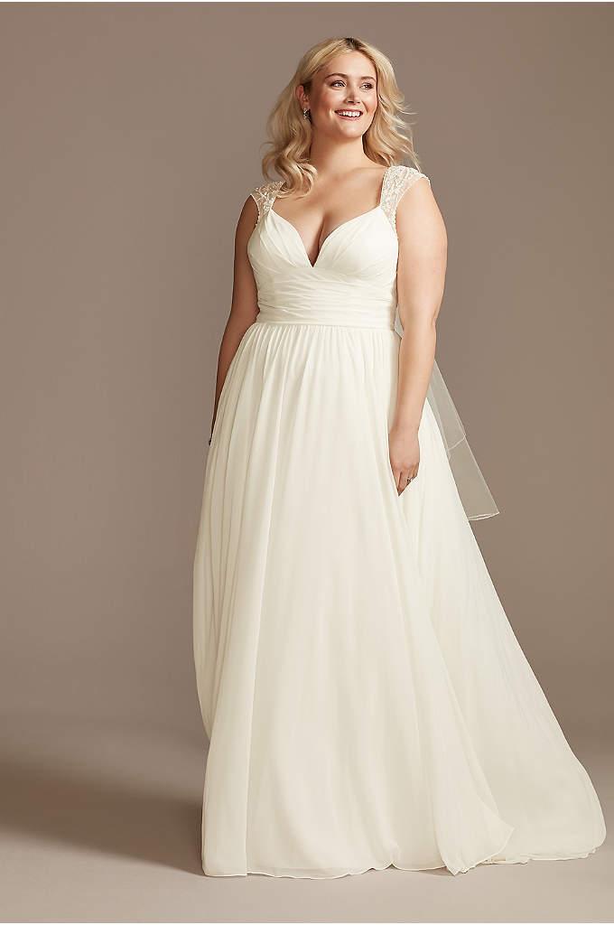 Beaded Cutout Back Chiffon Plus Size Wedding Dress