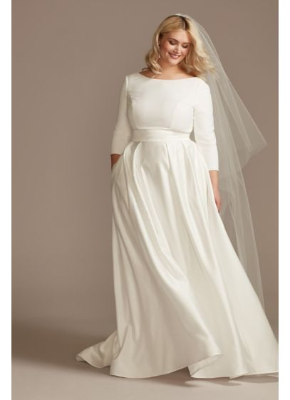 3/4 Sleeve Low Back Satin Plus Size Wedding - Modern yet classic, this unadorned wedding dress is