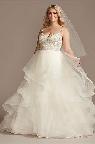 Beaded Bodice Tiered Skirt Plus Size Wedding Dress
