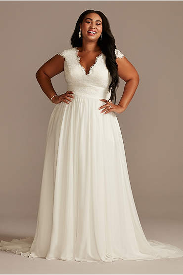 Lace Illusion Back Chiffon Plus Size Wedding Dress