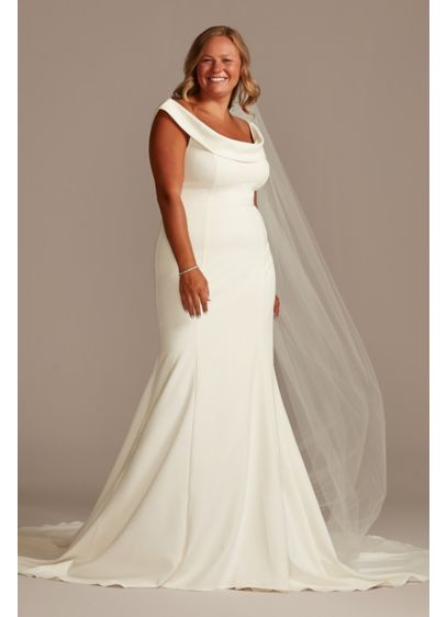 Crepe Off-the-Shoulder Plus Size Mermaid Dress - Modeled after the custom gown we created for