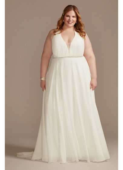 Chiffon Halter Bead Waist Plus Size Wedding Dress - With its illusion plunge neckline, this chiffon A-line