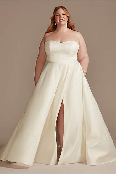 Strapless Plus Size Satin Wedding Dress with Slit