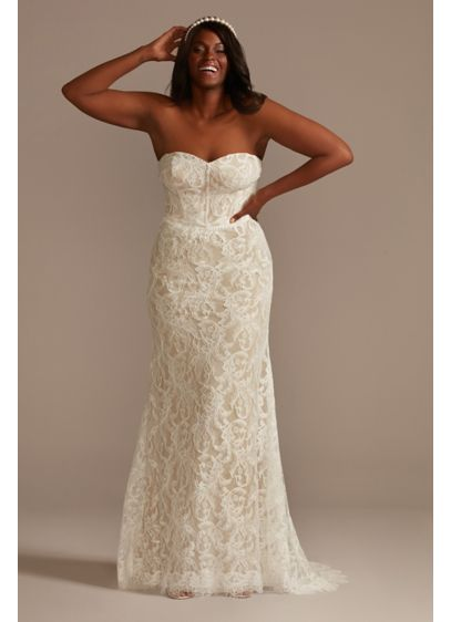 Detachable Sleeves Plus Size Lace Wedding Dress - An easy, stunning way to have two bridal