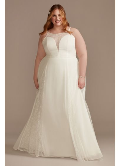 High Neck Lace Godet Plus Size Wedding Dress - Beautiful illusion floral lace adds unexpected allure to