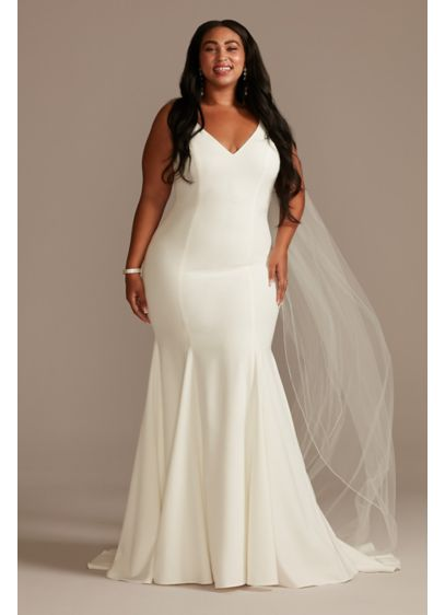 Crepe V-Neck Mermaid Plus Size Wedding Dress - This sleek and simple wedding dress is crafted