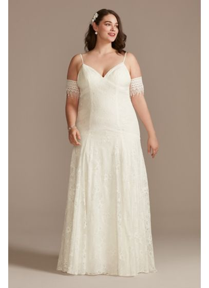 Low Back Plus Size Wedding Dress with Fringe - Effortless and ethereal, this lace spaghetti-strap wedding dress